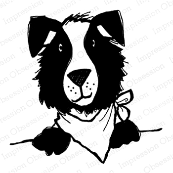 Impression Obsession Cling Stamp DOG WITH BANDANA D21392