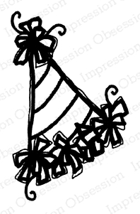 Impression Obsession Cling Stamp DOGS PARTY HAT C21398