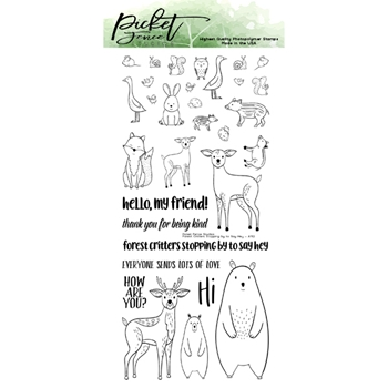 Picket Fence Studios FOREST CRITTERS STOPPING BY TO SAY HEY Clear Stamps a152