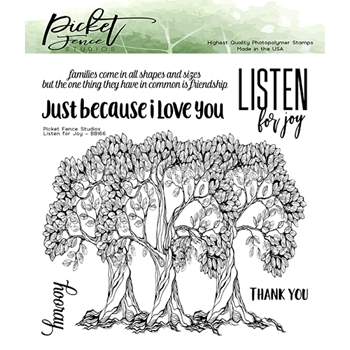 Picket Fence Studios LISTEN FOR JOY Clear Stamps bb166