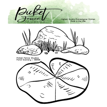 Picket Fence Studios POND SCENERY Clear Stamps bb168