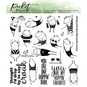 Picket Fence Studios DROP BY TO SAY CROAK Clear Stamps a154