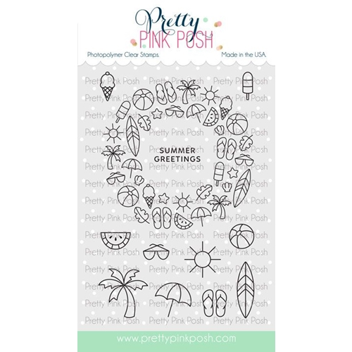 Pretty Pink Posh SUMMER WREATH Clear Stamps Preview Image