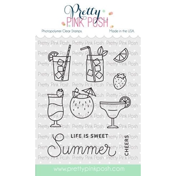 Pretty Pink Posh SUMMER DRINKS Clear Stamps