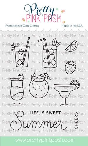 Pretty Pink Posh SUMMER DRINKS Clear Stamps zoom image