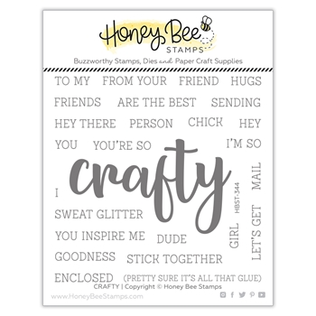 Honey Bee CRAFTY BUZZWORD Clear Stamp Set hbst344