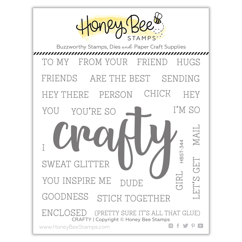 Honey Bee CRAFTY BUZZWORD Clear Stamp Set hbst344 zoom image