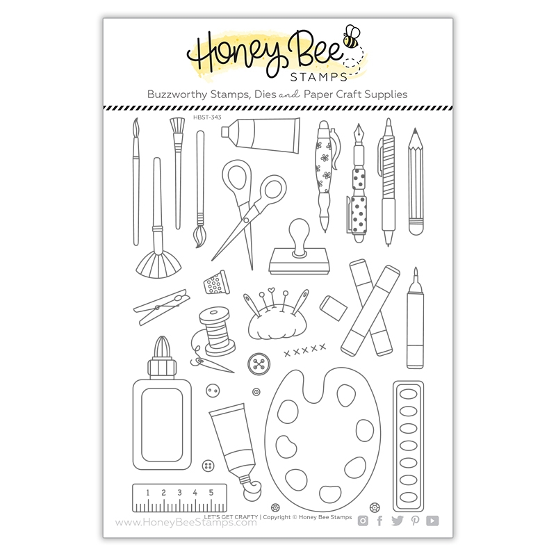 Honey Bee LET'S GET CRAFTY Clear Stamp Set hbst343 zoom image