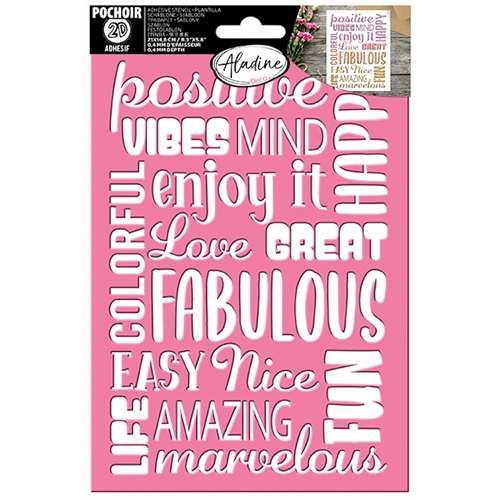 Aladine WORDS BACKGROUND 3D Stencil ad81181 Preview Image