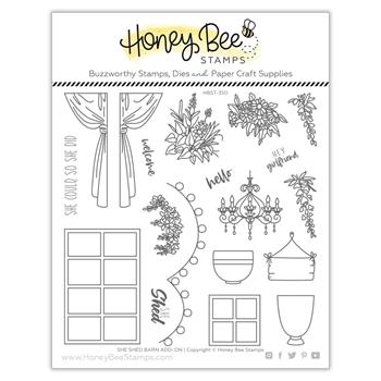 Honey Bee SHE SHED BARN ADD ON Clear Stamp Set hbst350