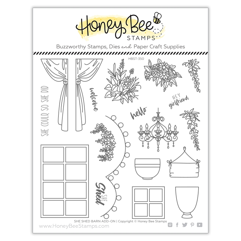 Honey Bee SHE SHED BARN ADD ON Clear Stamp Set hbst350 zoom image