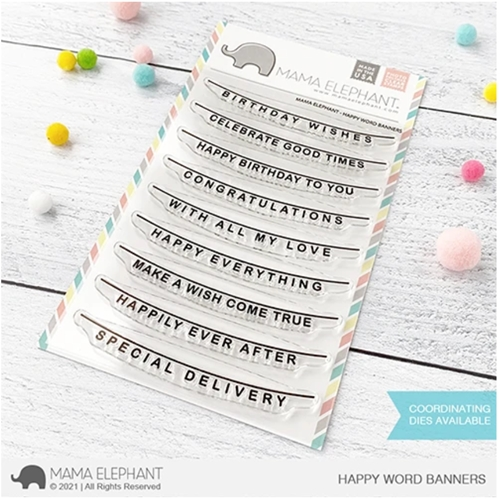 Mama Elephant Clear Stamps HAPPY WORD BANNERS Preview Image
