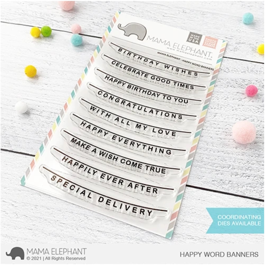 Mama Elephant Clear Stamps HAPPY WORD BANNERS zoom image