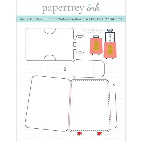 Papertrey Ink GO TO GIFT CARD HOLDER VINTAGE SUITCASE Dies ITP304 Preview Image