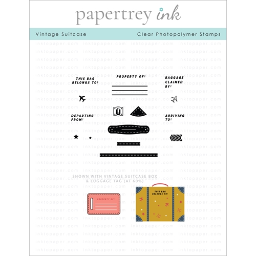 Papertrey Ink VINTAGE TRAVEL SUITCASE Clear Stamps 1302 Preview Image