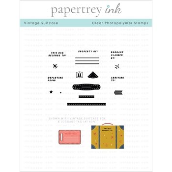 Papertrey Ink VINTAGE TRAVEL SUITCASE Clear Stamps 1302