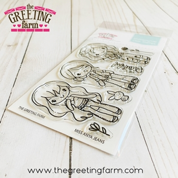 The Greeting Farm MISS ANYA JEANS Clear Stamps tgf593