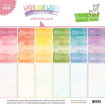 Lawn Fawn WATERCOLOR WISHES RAINBOW 12x12 Inch Collection Paper Pack lf2591