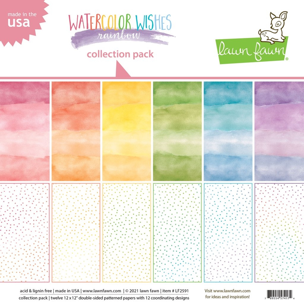 Lawn Fawn WATERCOLOR WISHES RAINBOW 12x12 Inch Collection Paper Pack lf2591 zoom image