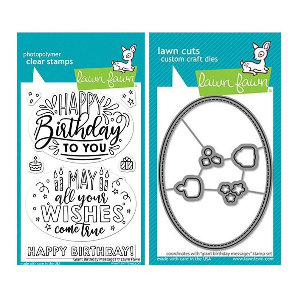 Lawn Fawn SET GIANT BIRTHDAY MESSAGES Clear Stamps and Dies lfgbm zoom image