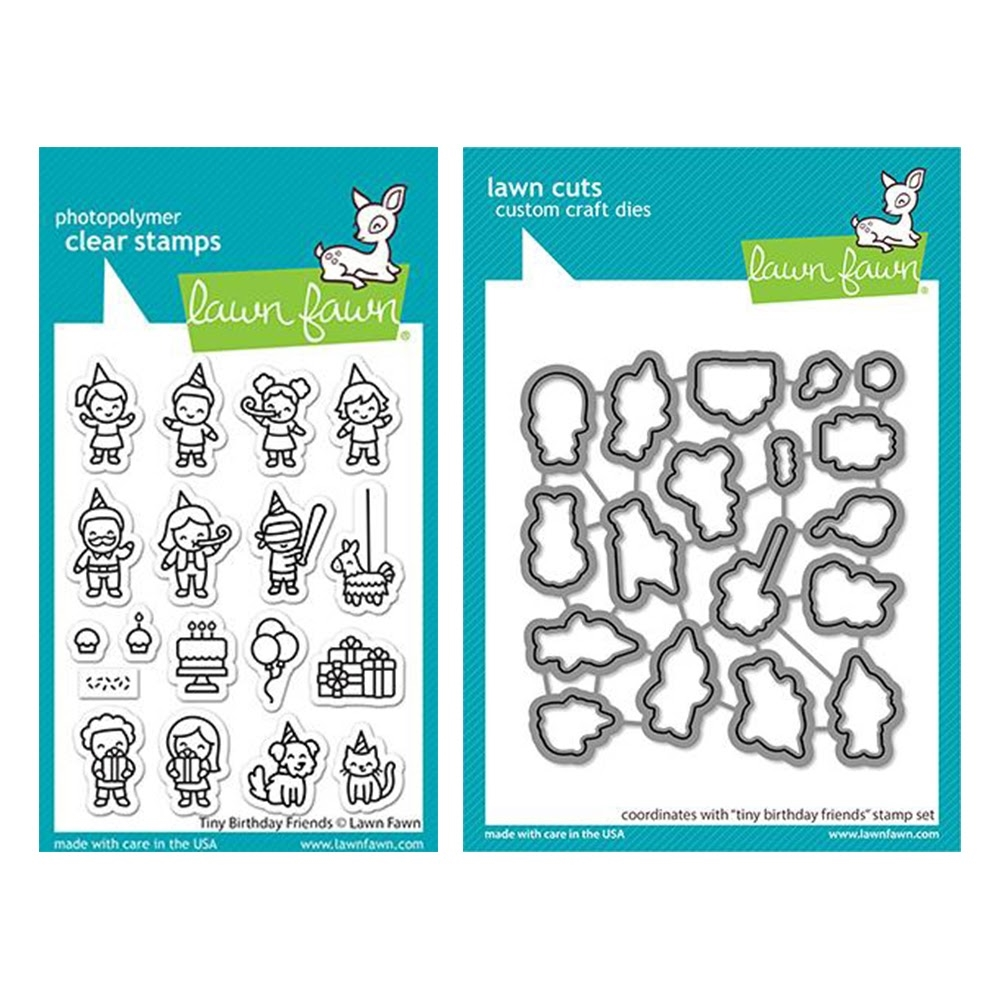 Lawn Fawn SET TINY BIRTHDAY FRIENDS Clear Stamps and Dies lftbf zoom image