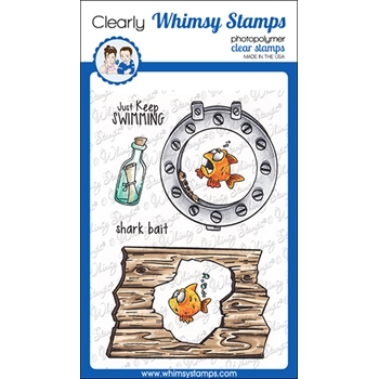 Whimsy Stamps LOOKING SHARK ELEMENTS Clear Stamps DP1068