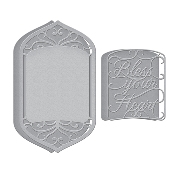S5-459 Spellbinders BLESS YOUR HEART VIGNETTE Etched Dies
