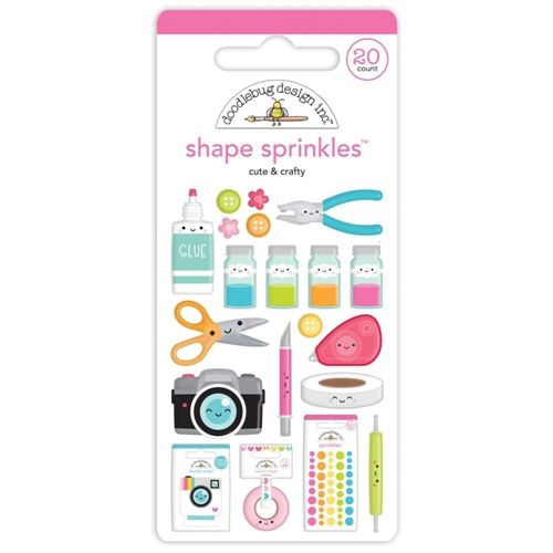 Doodlebug CUTE AND CRAFTY Shape Sprinkles Adhesive Enamel 7248 Preview Image