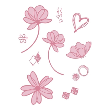 Couture Creations LAYERED FLORALS Clear Stamp Set co728361