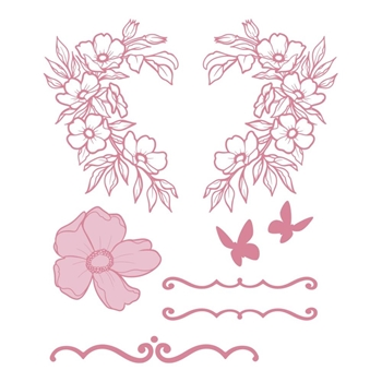 Couture Creations WREATH FLORALS Clear Stamp Set co728362
