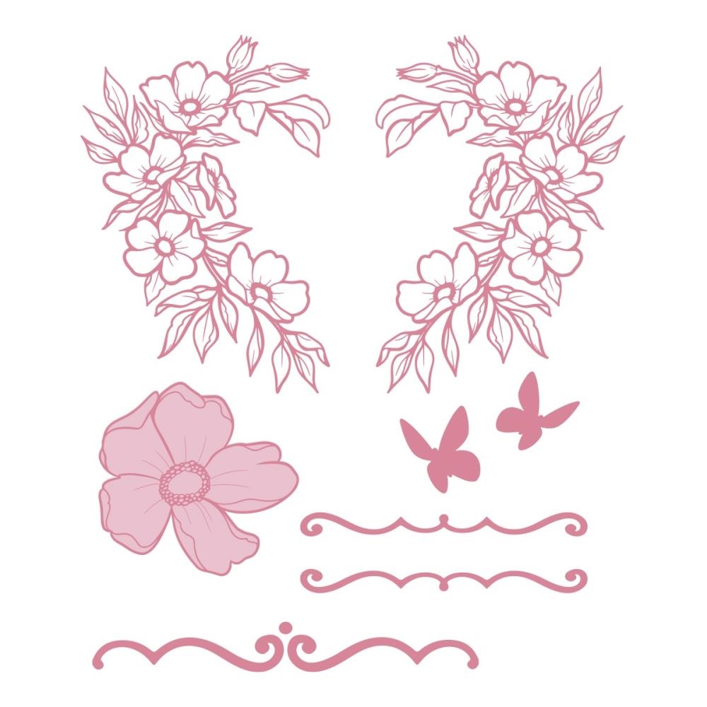 Couture Creations WREATH FLORALS Clear Stamp Set co728362 zoom image