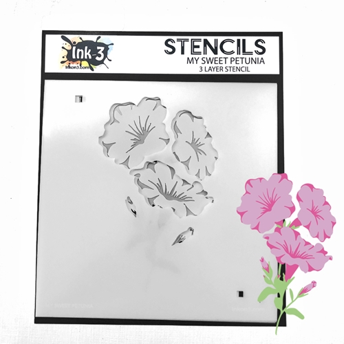 Inkon3 MY SWEET PETUNIA Layer Stencil 04097 Preview Image