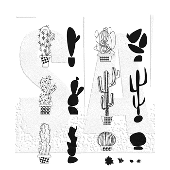 Tim Holtz Cling Rubber Stamps MOD CACTUS CMS431