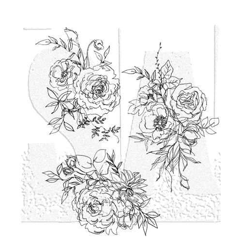 Tim Holtz Cling Rubber Stamps FLORAL OUTLINE CMS430 Preview Image
