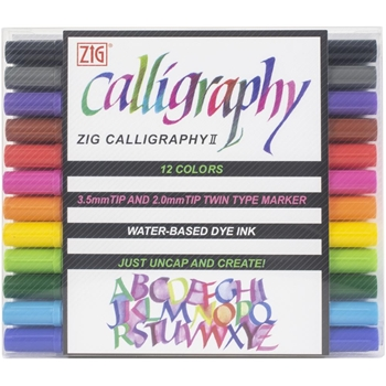 Zig Memory System 12 COLORS Calligraphy Dual-Tip Markers tc310012va