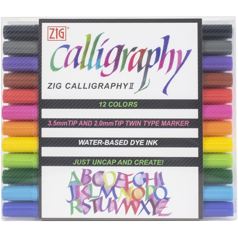 Zig Memory System 12 COLORS Calligraphy Dual-Tip Markers tc310012va zoom image