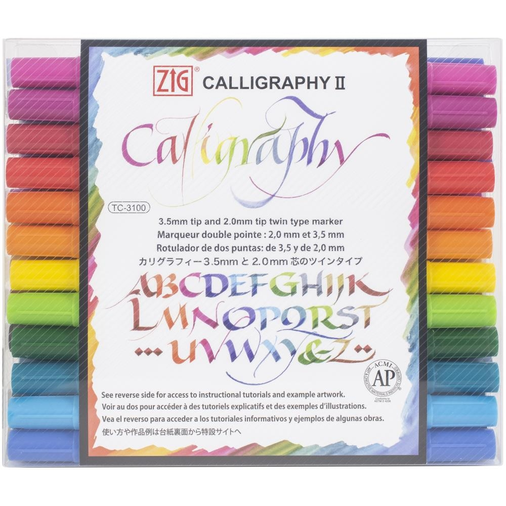 Zig Memory System 24 COLORS Calligraphy Dual-Tip Markers tc310024v zoom image