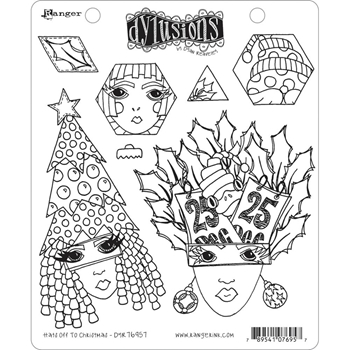 Dyan Reaveley HATS OFF TO CHRISTMAS Cling Stamp Set Dylusions dyr76957