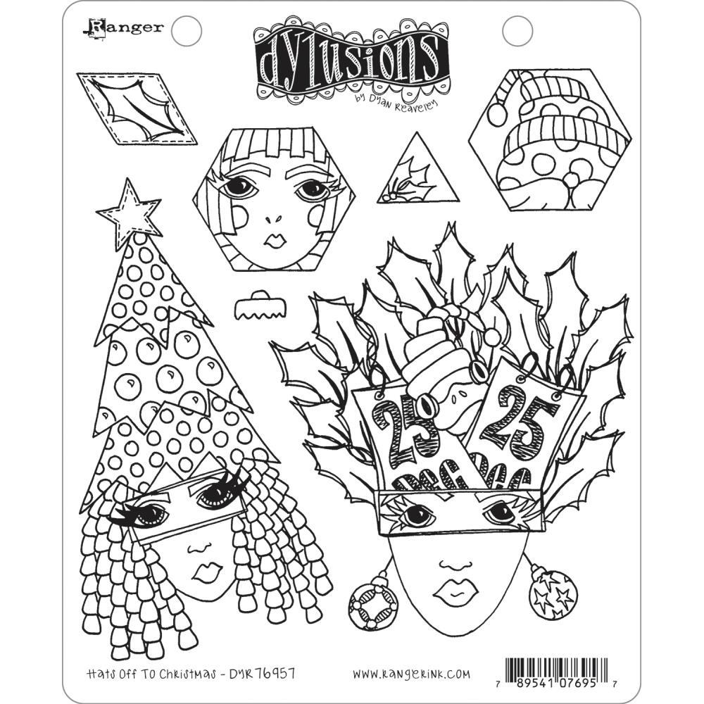 Dyan Reaveley HATS OFF TO CHRISTMAS Cling Stamp Set Dylusions dyr76957 zoom image