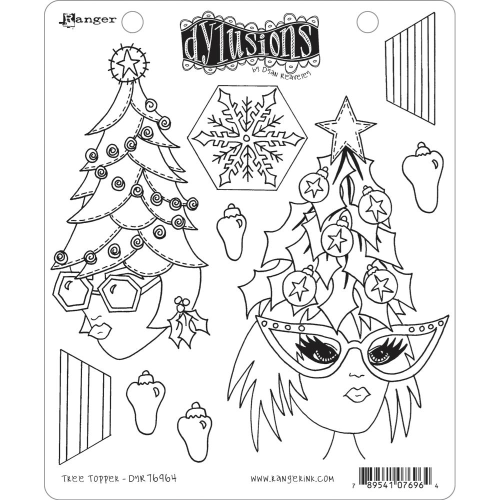 Dyan Reaveley TREE TOPPER Cling Stamp Set Dylusions dyr76964 zoom image