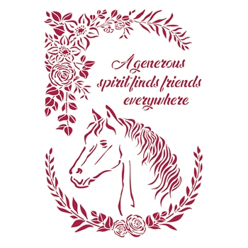 Stamperia ROMANTIC HORSES HORSE WITH FLOWERS Stencil ksg471*