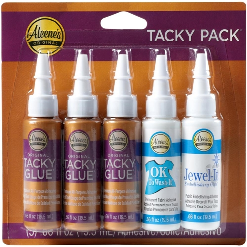 Aleene's 5 TACKY PACK Glue Adhesives Try Me Sizes Original Ok to Wash & Jewel-it 24354 Preview Image