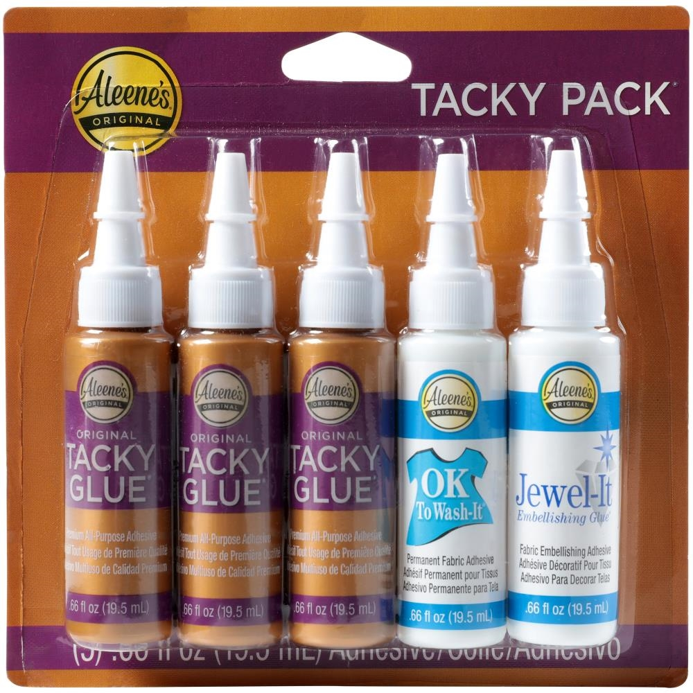 Aleene's 5 TACKY PACK Glue Adhesives Try Me Sizes Original Ok to Wash & Jewel-it 24354 zoom image