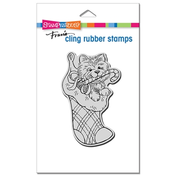 Stampendous Cling Stamp PUPPY STOCKING crp385