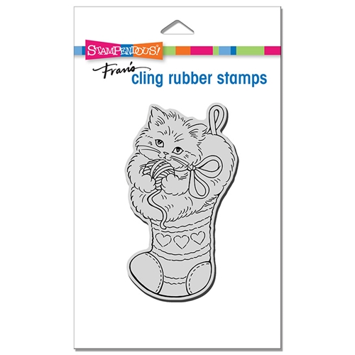 Stampendous Cling Stamp KITTEN STOCKING crp386 Preview Image