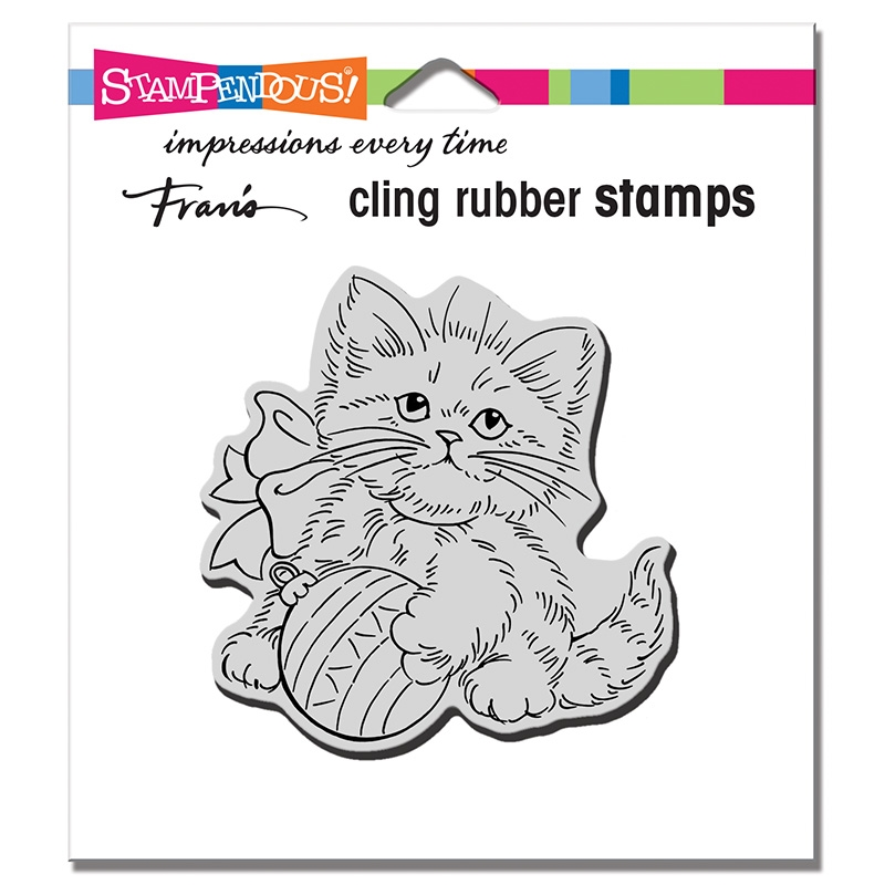 Stampendous Cling Stamp KITTEN ORNAMENT crq258 zoom image