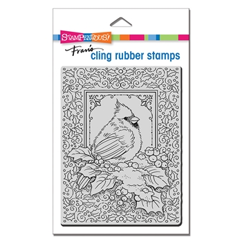 Stampendous Cling Stamp CARDINAL FRAME crr340