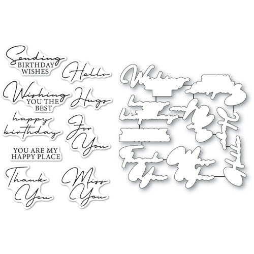 Memory Box SIGNATURE GREETINGS Clear Stamp and Die Set cl5272d Preview Image