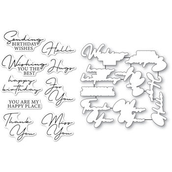 Memory Box SIGNATURE GREETINGS Clear Stamp and Die Set cl5272d