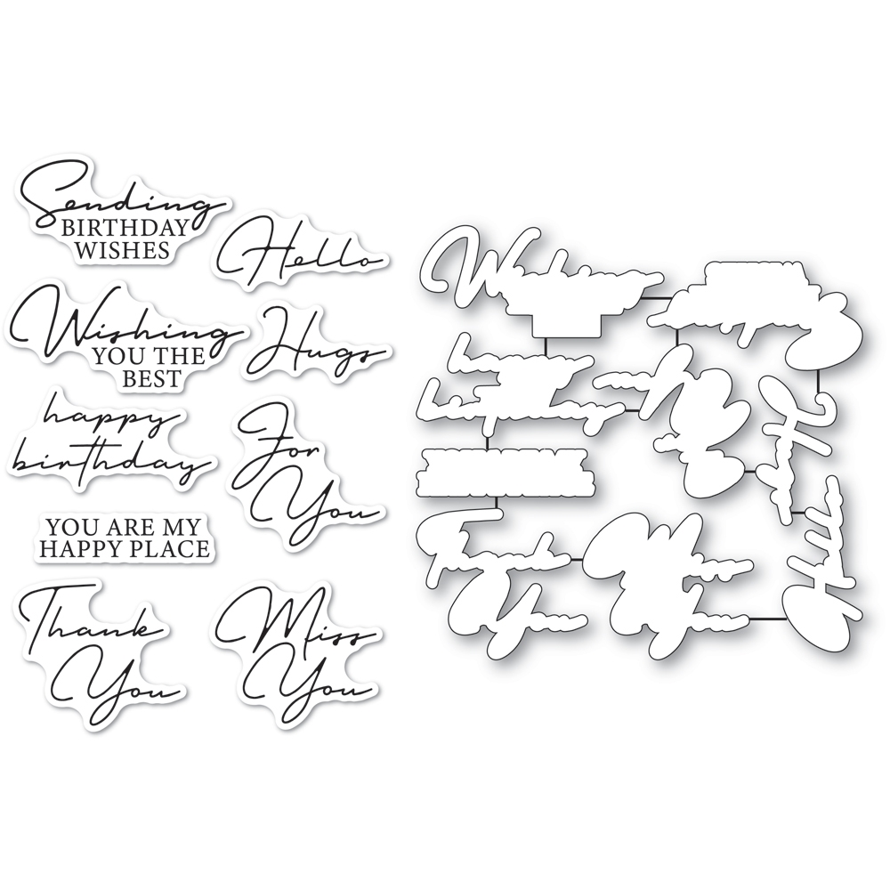 Memory Box SIGNATURE GREETINGS Clear Stamp and Die Set cl5272d zoom image